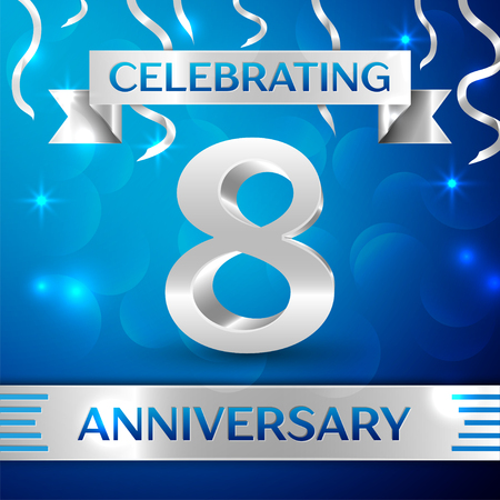 Eight Years Anniversary Celebration Design. Confetti and silver ribbon on blue background. Colorful Vector template elements for your birthday party. Anniversary ribbon