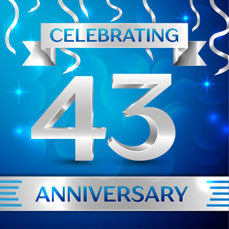 Forty three Years Anniversary Celebration Design. Confetti and silver ribbon on blue background. Colorful Vector template elements for your birthday party. Anniversary ribbon