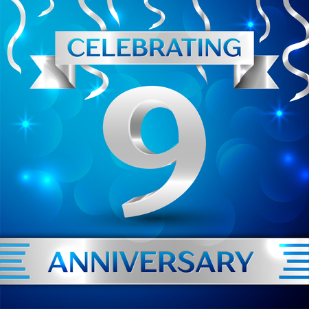 Nine Years Anniversary Celebration Design. Confetti and silver ribbon on blue background. Colorful Vector template elements for your birthday party. Anniversary ribbon 矢量图像