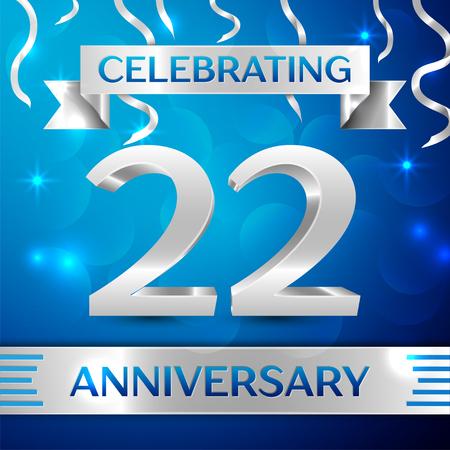 Twenty two Years Anniversary Celebration Design. Confettien en zilveren lint op blauwe achtergrond. Kleurrijke vector sjabloon elementen voor uw verjaardagsfeestje. Verjaardag lint
