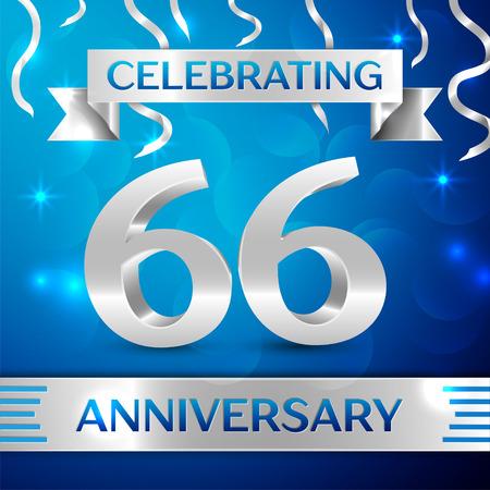 Sixty six Years Anniversary Celebration Design. Confettien en zilveren lint op blauwe achtergrond. Kleurrijke vector sjabloon elementen voor uw verjaardagsfeestje. Verjaardag lint