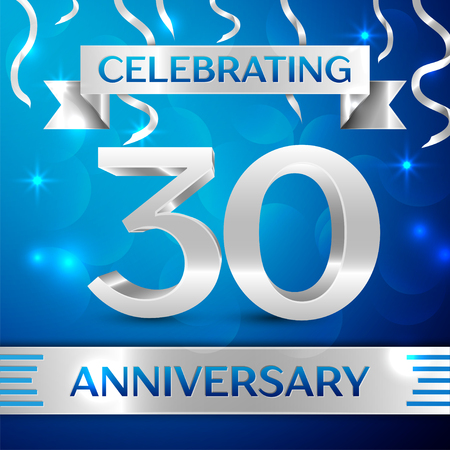 Thirty Years Anniversary Celebration Design. Confetti and silver ribbon on blue background. Colorful Vector template elements for your birthday party. Anniversary ribbon