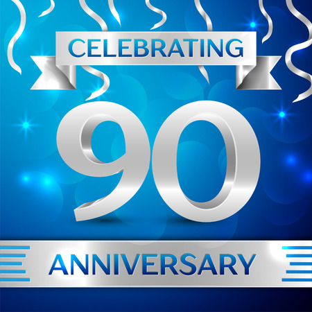 90th: Ninety Years Anniversary Celebration Design. Confetti and silver ribbon on blue background. Colorful Vector template elements for your birthday party. Anniversary ribbon