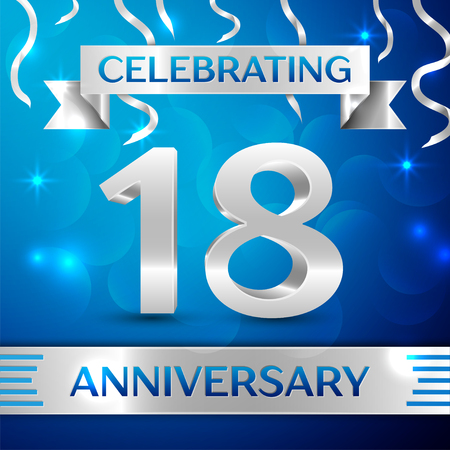 happy 18th birthday: Eighteen Years Anniversary Celebration Design. Confetti and silver ribbon on blue background. Colorful Vector template elements for your birthday party. Anniversary ribbon
