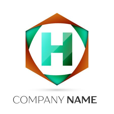Buchstabe H Vektor-Logo-Symbol Im Bunten Sechseckigen Auf Grauem ...