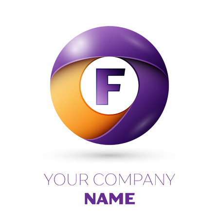 Letter F vector logo symbol in the colorful circle on white background. Vector template for your design