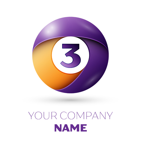 Number three vector logo symbol in the colorful circle on white background. Vector template for your design