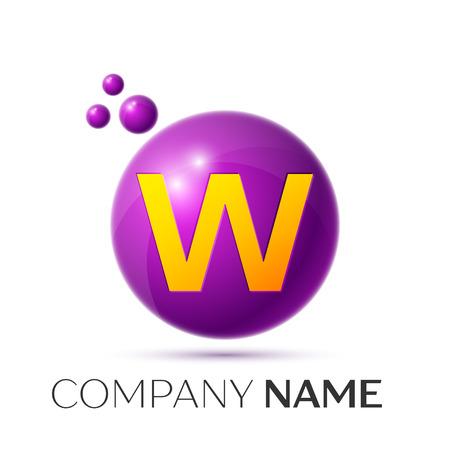 W Letter splash logo. Purple dots and circle bubble letter design on grey background. Vector Illustration