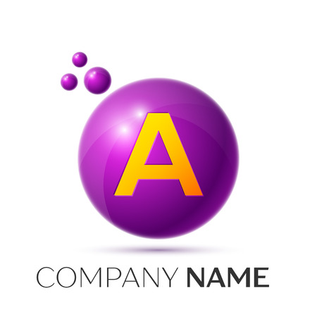 A Letter splash logo. Purple dots and circle bubble letter design on grey background. Vector Illustration