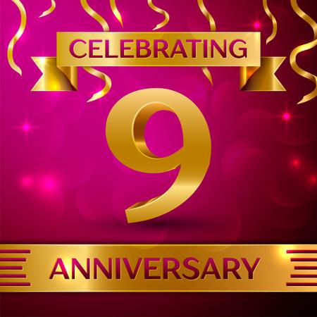 Nine Years Anniversary Celebration Design. Confettien en gouden lint op roze achtergrond. Kleurrijke vector sjabloon elementen voor uw verjaardagsfeestje. Verjaardag lint