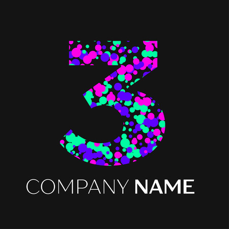 unusual: Number three logo with pink, purple, green particles and bubbles dots on black background. Vector template for your design