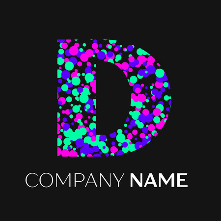 unusual: Letter D logo with pink, purple, green particles and bubbles dots on black background. Vector template for your design