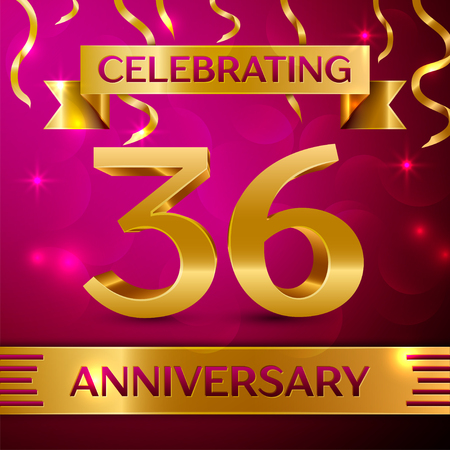 number 36: Thirty six Years Anniversary Celebration Design. Confetti and golden ribbon on pink background. Colorful Vector template elements for your birthday party. Anniversary ribbon Illustration