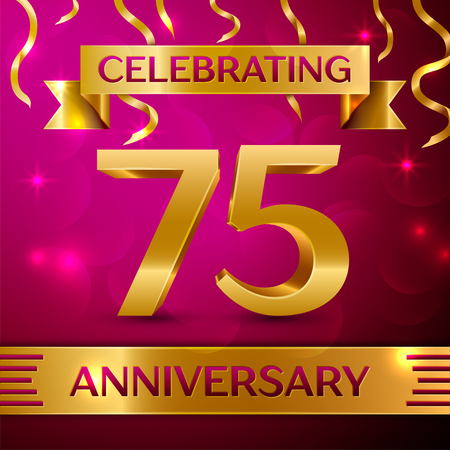 seventy: Seventy five Years Anniversary Celebration Design. Confetti and golden ribbon on pink background. Colorful Vector template elements for your birthday party. Anniversary ribbon Illustration