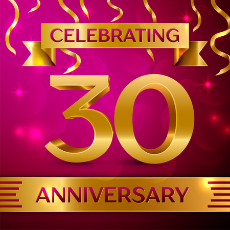 Thirty Years Anniversary Celebration Design. Confetti and golden ribbon on pink background. Colorful Vector template elements for your birthday party. Anniversary ribbon Illustration