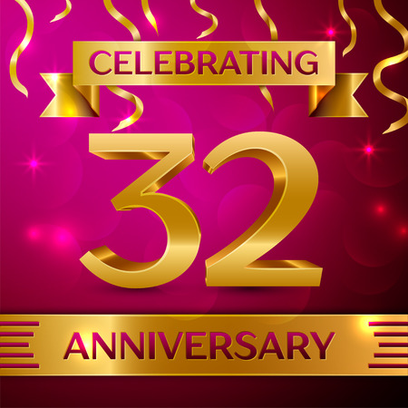 Thirty two Years Anniversary Celebration Design. Confetti and golden ribbon on pink background. Colorful Vector template elements for your birthday party. Anniversary ribbon