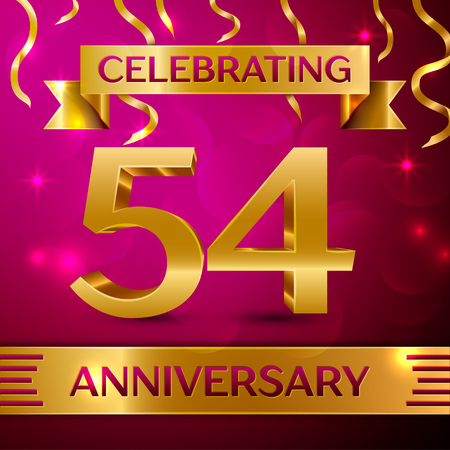 Fifty four Years Anniversary Celebration Design. Confetti and golden ribbon on pink background. Colorful Vector template elements for your birthday party. Anniversary ribbon