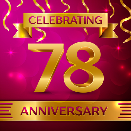 seventy: Seventy eight Years Anniversary Celebration Design. Confetti and golden ribbon on pink background. Colorful Vector template elements for your birthday party. Anniversary ribbon Illustration