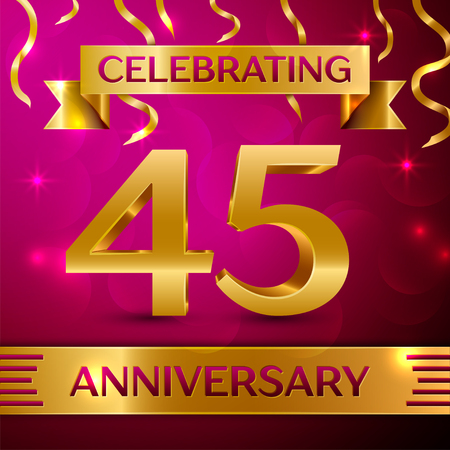 45th: Forty five Years Anniversary Celebration Design. Confetti and golden ribbon on pink background. Colorful Vector template elements for your birthday party. Anniversary ribbon