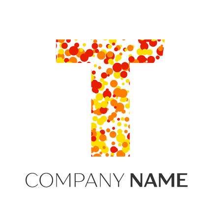 unusual: Letter T logo with orange, yellow, red particles and bubbles dots on white background. Vector template for your design