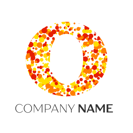 Letter O logo with orange, yellow, red particles and bubbles dots on white background. Vector template for your design