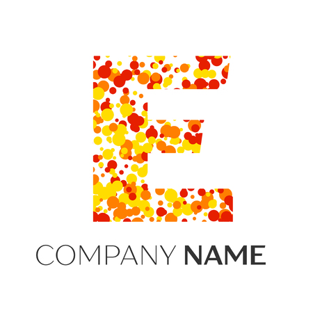 Letter E logo with orange, yellow, red particles and bubbles dots on white background. Vector template for your design