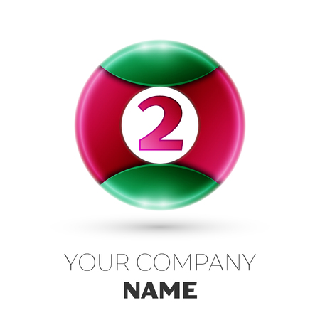 Realistic Number two vector logo symbol in the colorful circle on white background. Vector template for your design Illustration