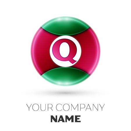 Realistic Letter Q vector logo symbol in the colorful circle on white background. Vector template for your design Illustration