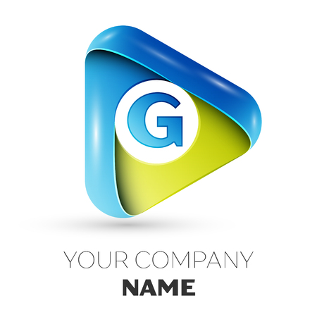 round logo: Realistic Letter G vector logo symbol in the colorful triangle on grey background. Vector template for your design