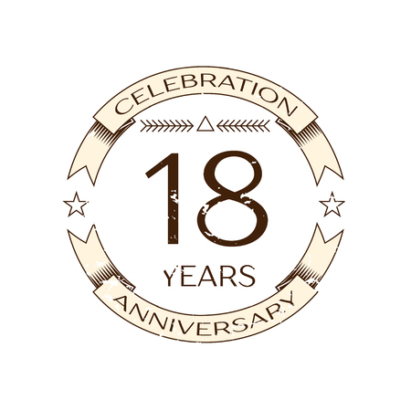 happy 18th birthday: Realistic eighteen years anniversary celebration logo with ring and ribbon on white background. Vector template for your design