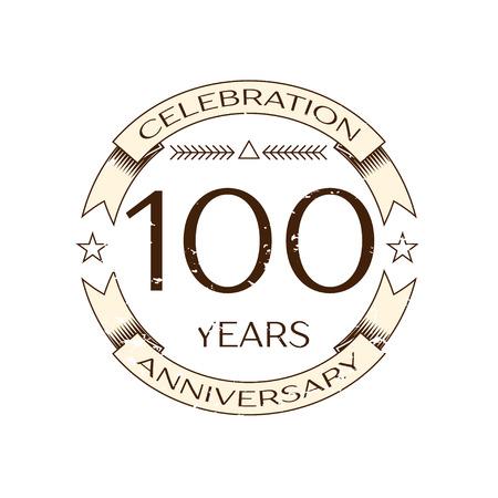 Realistische honderd jaar jubileumfeest logo met ring en lint op witte achtergrond. Vector sjabloon voor uw ontwerp Stock Illustratie