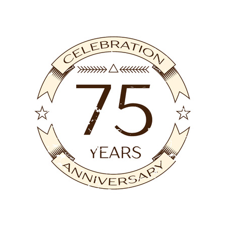 seventy: Realistic seventy five years anniversary celebration  with ring and ribbon on white background. Vector template for your design