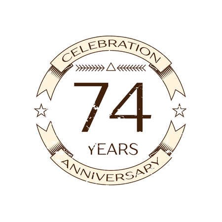 seventy: Realistic seventy four years anniversary celebration  with ring and ribbon on white background. Vector template for your design