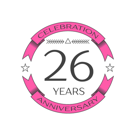 Realistic twenty six years anniversary celebration logo with ring and ribbon on white background. Vector template for your design Çizim