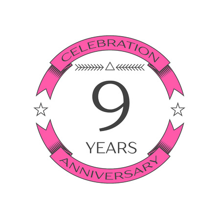 Realistic nine years anniversary celebration logo with ring and ribbon on white background. Vector template for your design