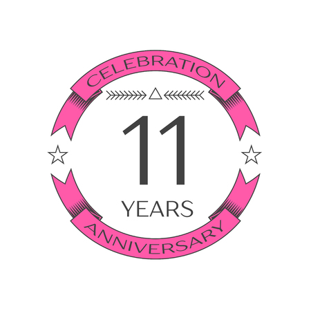 number eleven: Realistic eleven years anniversary celebration logo with ring and ribbon on white background. Vector template for your design Illustration