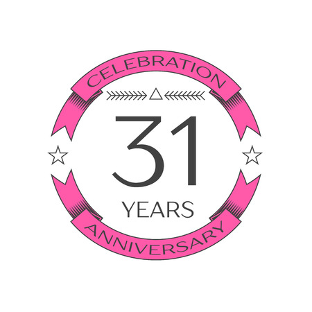31th: Realistic thirty one years anniversary celebration logo with ring and ribbon on white background. Vector template for your design