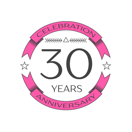 Realistic thirty years anniversary celebration logo with ring and ribbon on white background. Vector template for your design