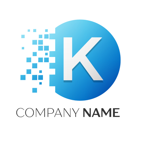 Realistic letter K vector logo symbol in the colorful circle with shattered blocks on white background. Vector template for your design