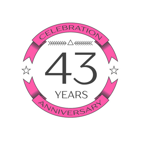 Realistic forty three years anniversary celebration logo with ring and ribbon on white background. Vector template for your design