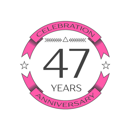 Realistic forty seven years anniversary celebration logo with ring and ribbon on white background. Vector template for your design Illustration