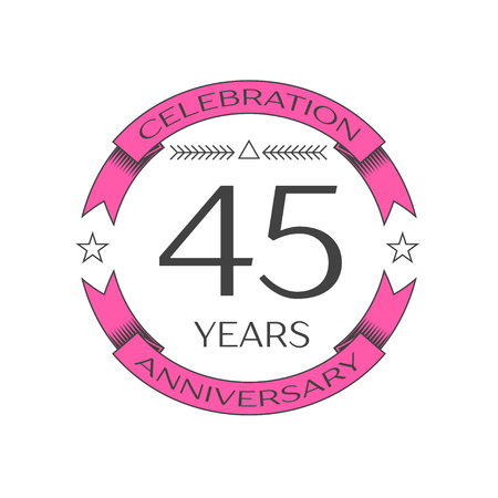 45th: Realistic forty five years anniversary celebration logo with ring and ribbon on white background. Vector template for your design