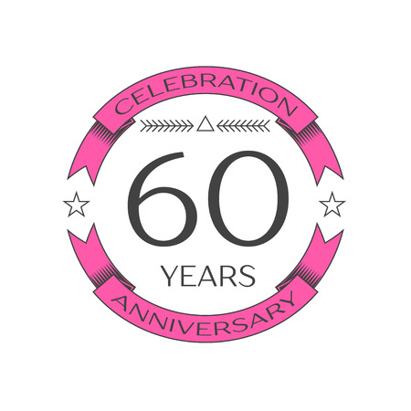 Realistic sixty years anniversary celebration logo with ring and ribbon on white background. Vector template for your design Illustration