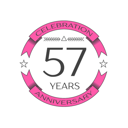 57: Realistic fifty seven years anniversary celebration logo with ring and ribbon on white background. Vector template for your design