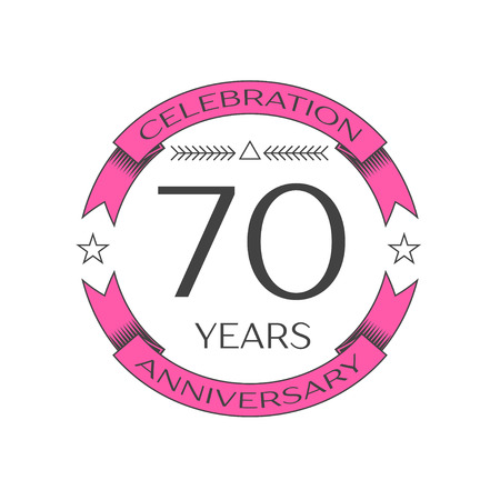 Realistic seventy years anniversary celebration logo with ring and ribbon on white background. Vector template for your design