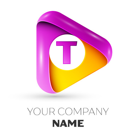 Realistic letter T vector logo symbol in the colorful triangle on white background. Vector template for your design