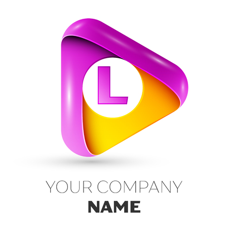 Realistic letter L vector logo symbol in the colorful triangle on white background. Vector template for your design Illustration