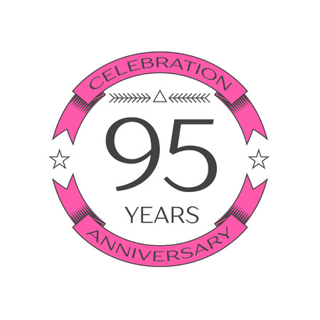 ninety: Realistic ninety five years anniversary celebration logo with ring and ribbon on white background. Vector template for your design