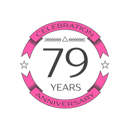 seventy: Realistic seventy nine years anniversary celebration logo with ring and ribbon on white background. Vector template for your design
