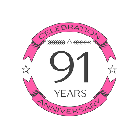 ninety: Realistic ninety one years anniversary celebration logo with ring and ribbon on white background. Vector template for your design